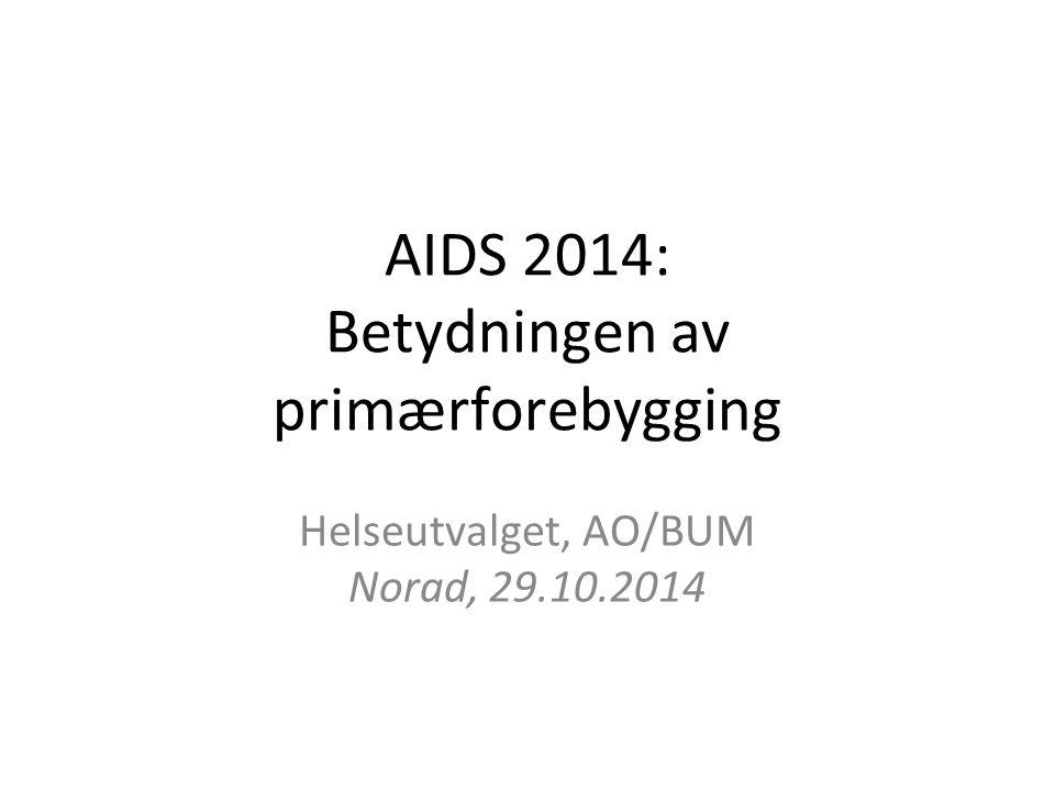 AIDS 2014: Betydningen av primærforebygging Helseutvalget, AO/BUM Norad, 29.10.2014