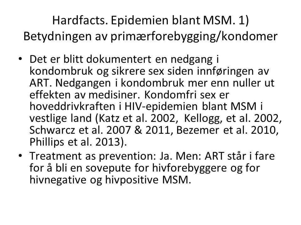 Hardfacts. Epidemien blant MSM. 1) Betydningen av primærforebygging/kondomer Det er blitt dokumentert en nedgang i kondombruk og sikrere sex siden inn