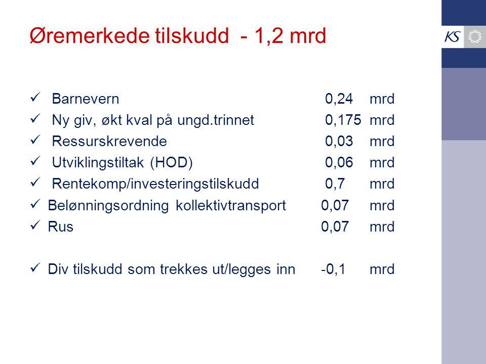 Øremerkede tilskudd - 1,2 mrd Barnevern 0,24 mrd Ny giv, økt kval på ungd.trinnet 0,175 mrd Ressurskrevende 0,03 mrd Utviklingstiltak (HOD) 0,06mrd Rentekomp/investeringstilskudd 0,7 mrd Belønningsordning kollektivtransport0,07mrd Rus0,07mrd Div tilskudd som trekkes ut/legges inn-0,1mrd