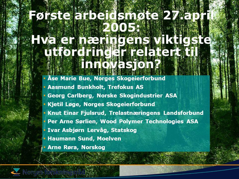 Første arbeidsmøte 27.april 2005: Hva er næringens viktigste utfordringer relatert til innovasjon.