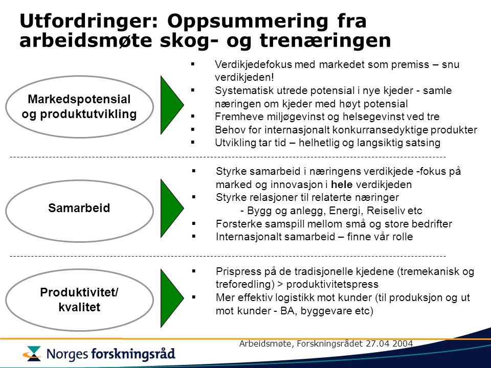 Utfordringer: Oppsummering fra arbeidsmøte skog- og trenæringen  Verdikjedefokus med markedet som premiss – snu verdikjeden.