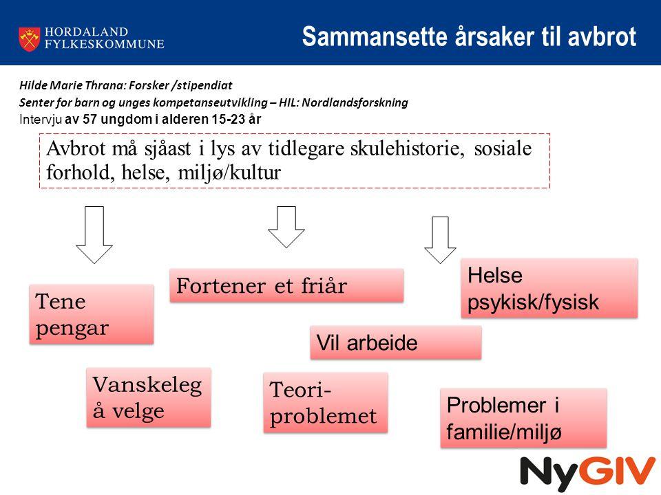 Sammansette årsaker til avbrot Hilde Marie Thrana: Forsker /stipendiat Senter for barn og unges kompetanseutvikling – HIL: Nordlandsforskning Intervju