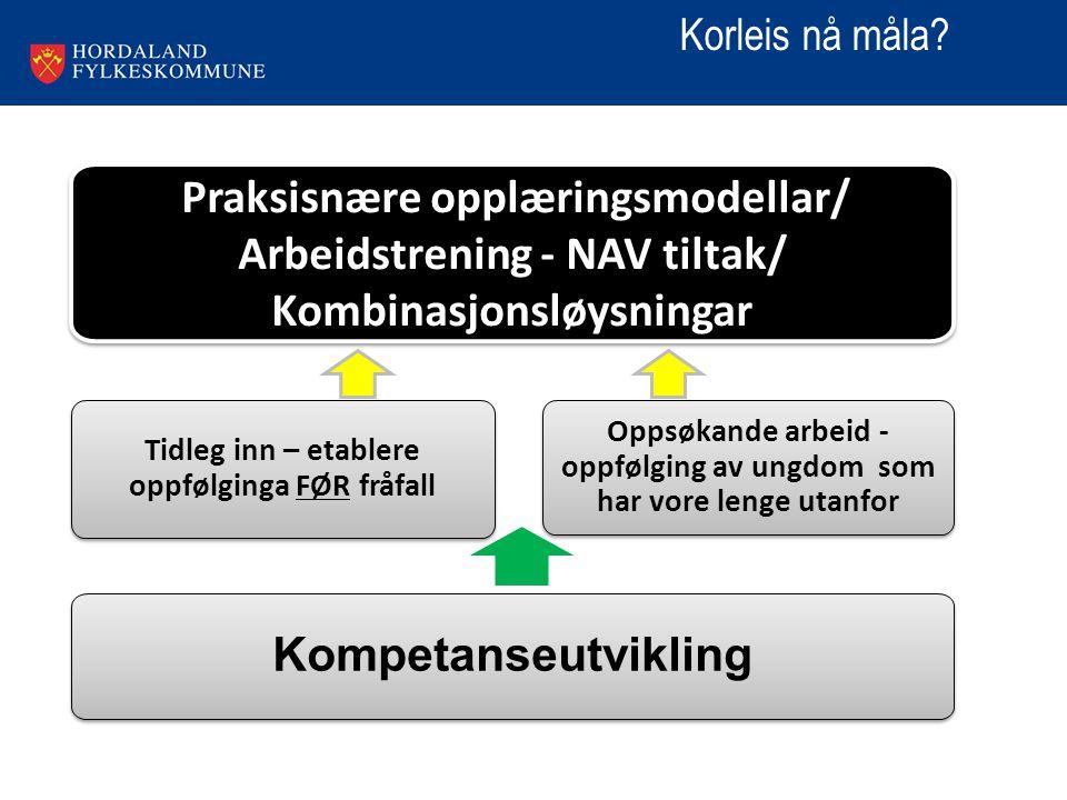 29. mars 2015Tittel på presentasjon4 Tidleg inn – etablere oppfølginga FØR fråfall Praksisnære opplæringsmodellar/ Arbeidstrening - NAV tiltak/ Kombin