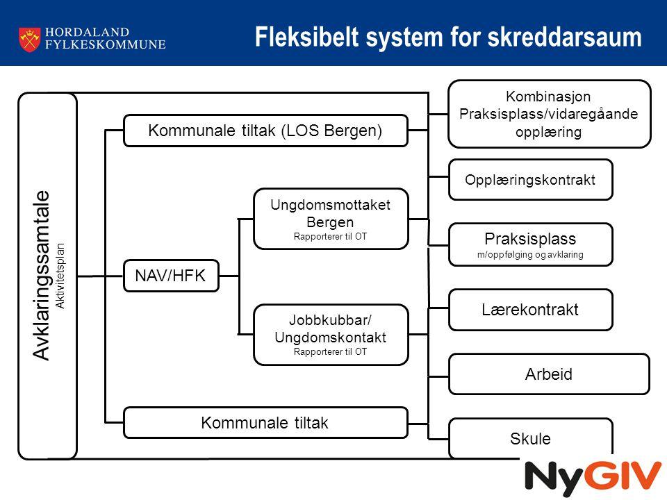 Fleksibelt system for skreddarsaum Avklaringssamtale Aktivitetsplan Kommunale tiltak (LOS Bergen) Kombinasjon Praksisplass/vidaregåande opplæring Oppl