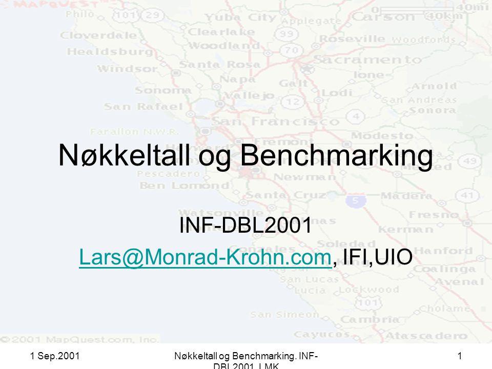 1 Sep.2001Nøkkeltall og Benchmarking. INF- DBL2001, LMK 1 Nøkkeltall og Benchmarking INF-DBL2001 Lars@Monrad-Krohn.comLars@Monrad-Krohn.com, IFI,UIO