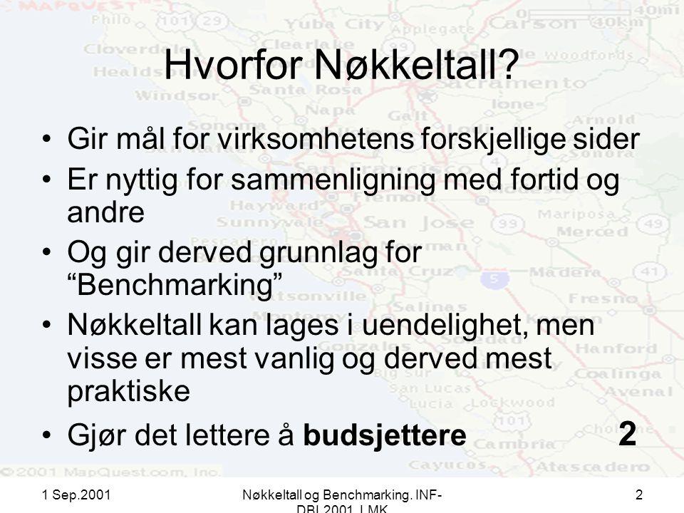 1 Sep.2001Nøkkeltall og Benchmarking. INF- DBL2001, LMK 2 Hvorfor Nøkkeltall.
