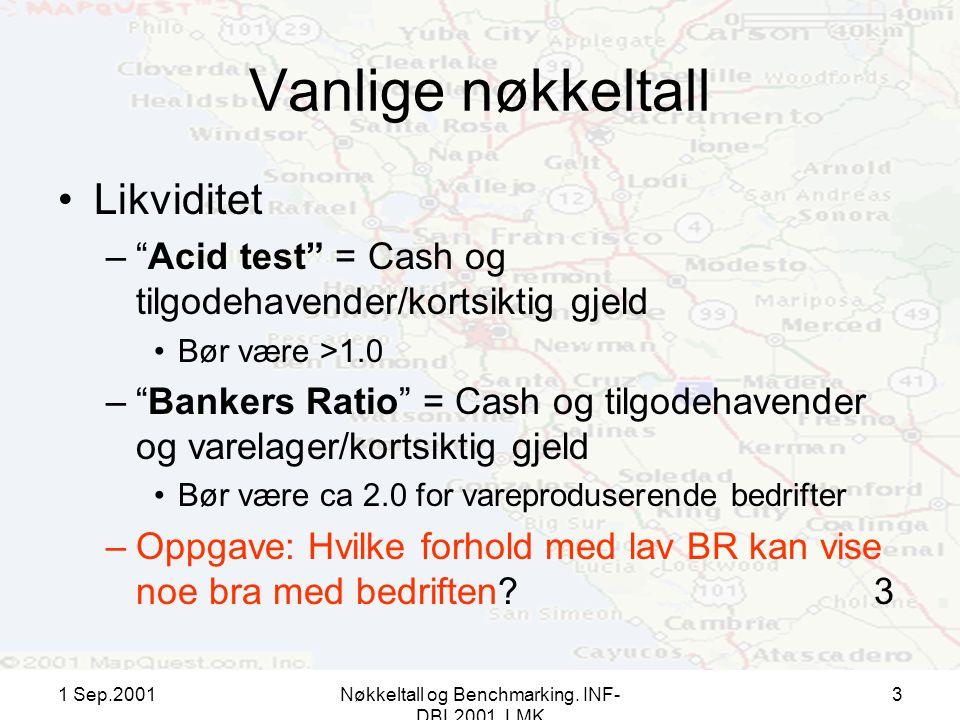 """1 Sep.2001Nøkkeltall og Benchmarking. INF- DBL2001, LMK 3 Vanlige nøkkeltall Likviditet –""""Acid test"""" = Cash og tilgodehavender/kortsiktig gjeld Bør væ"""