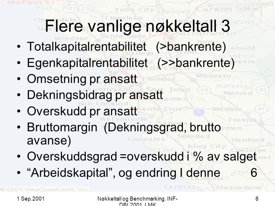 1 Sep.2001Nøkkeltall og Benchmarking. INF- DBL2001, LMK 6 Flere vanlige nøkkeltall 3 Totalkapitalrentabilitet (>bankrente) Egenkapitalrentabilitet (>>
