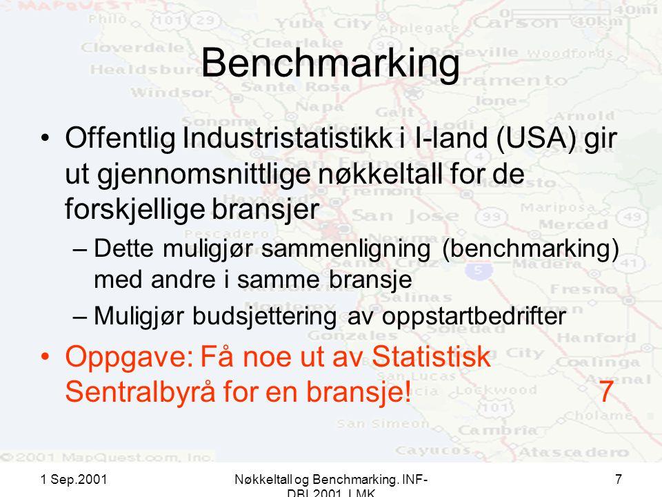 1 Sep.2001Nøkkeltall og Benchmarking. INF- DBL2001, LMK 7 Benchmarking Offentlig Industristatistikk i I-land (USA) gir ut gjennomsnittlige nøkkeltall