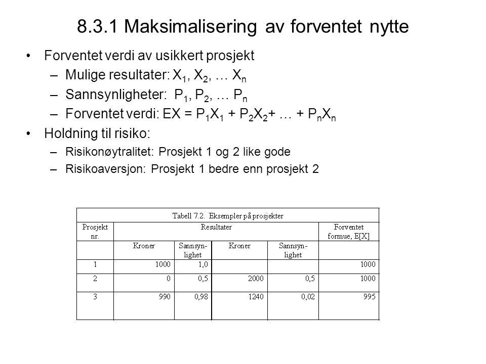 8.3.1 Maksimalisering av forventet nytte Forventet verdi av usikkert prosjekt –Mulige resultater: X 1, X 2, … X n –Sannsynligheter: P 1, P 2, … P n –Forventet verdi: EX = P 1 X 1 + P 2 X 2 + … + P n X n Holdning til risiko: –Risikonøytralitet: Prosjekt 1 og 2 like gode –Risikoaversjon: Prosjekt 1 bedre enn prosjekt 2