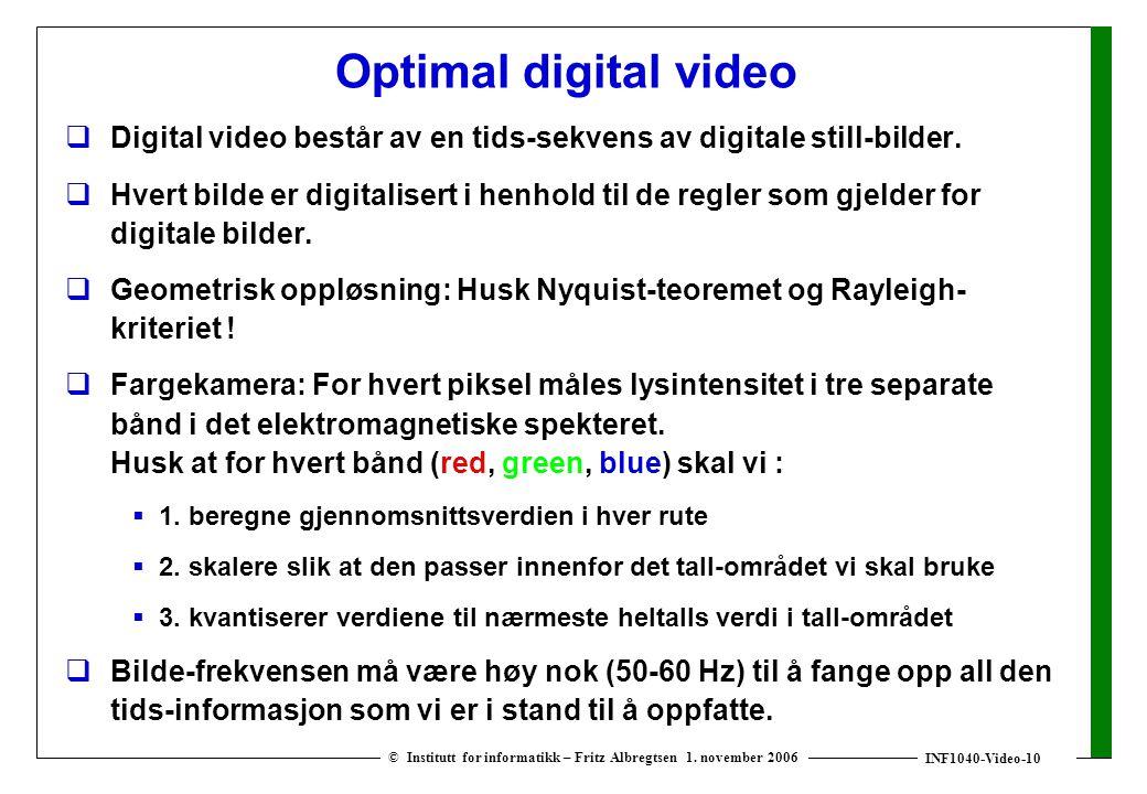 INF1040-Video-10 © Institutt for informatikk – Fritz Albregtsen 1. november 2006 Optimal digital video  Digital video består av en tids-sekvens av di