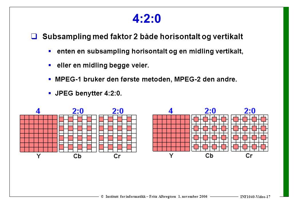 INF1040-Video-17 © Institutt for informatikk – Fritz Albregtsen 1. november 2006 4:2:0  Subsampling med faktor 2 både horisontalt og vertikalt  ente