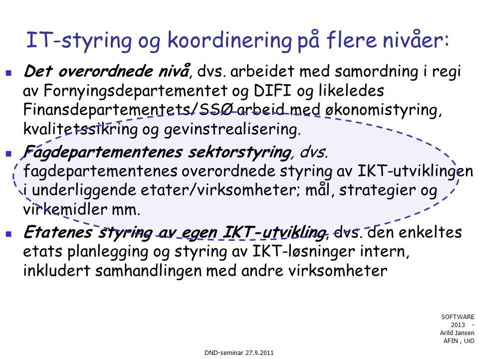 9 Typer virkemidler: harde og myke Harde : Juridiske _ lover, forskrifter med mer Økonomiske :Budsjett Budsjettet og økonomistyring Forretningsmodeller Teknisk regulering: standardisering, arkitektur..