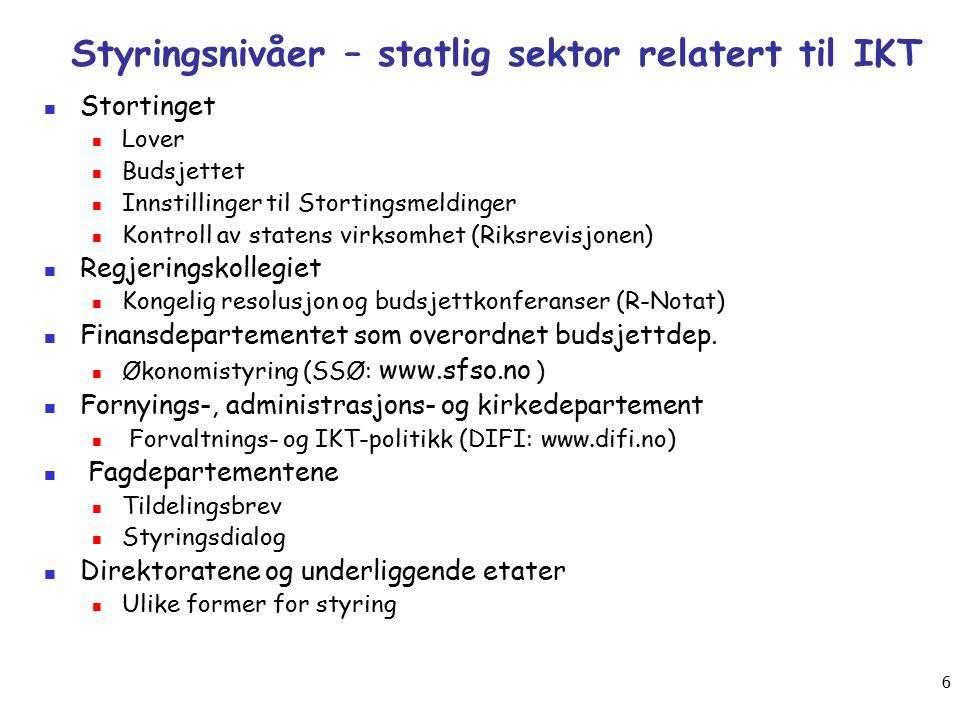 SOFTWARE 2013 - Arild Jansen AFIN, UiO 5 Hvordan styres eforvaltningen....