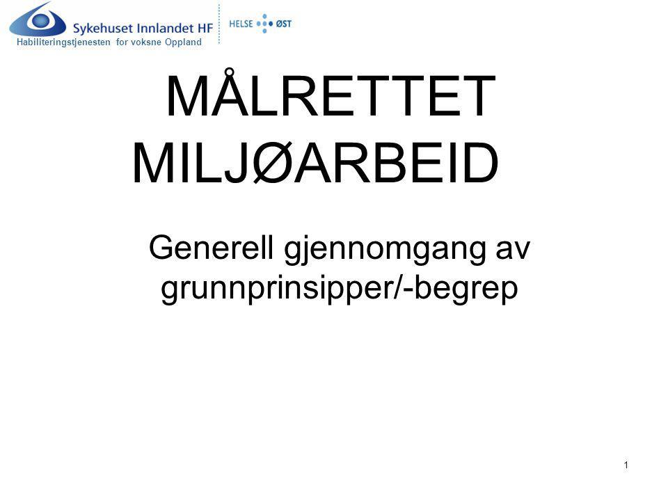 Habiliteringstjenesten for voksne Oppland 1 MÅLRETTET MILJØARBEID Generell gjennomgang av grunnprinsipper/-begrep
