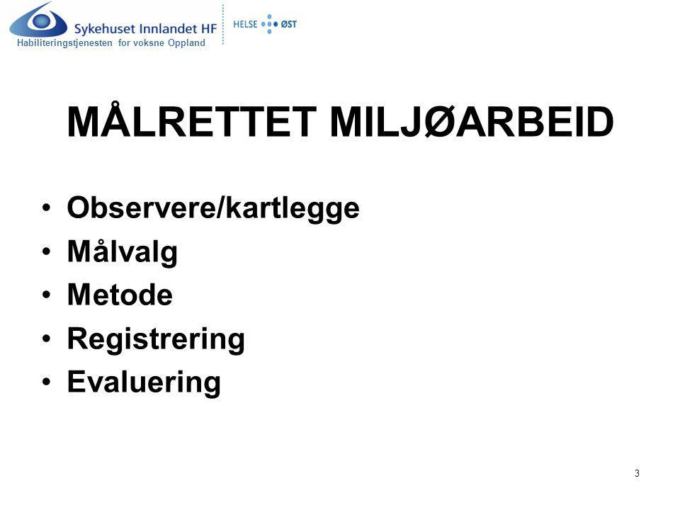Habiliteringstjenesten for voksne Oppland 3 MÅLRETTET MILJØARBEID Observere/kartlegge Målvalg Metode Registrering Evaluering