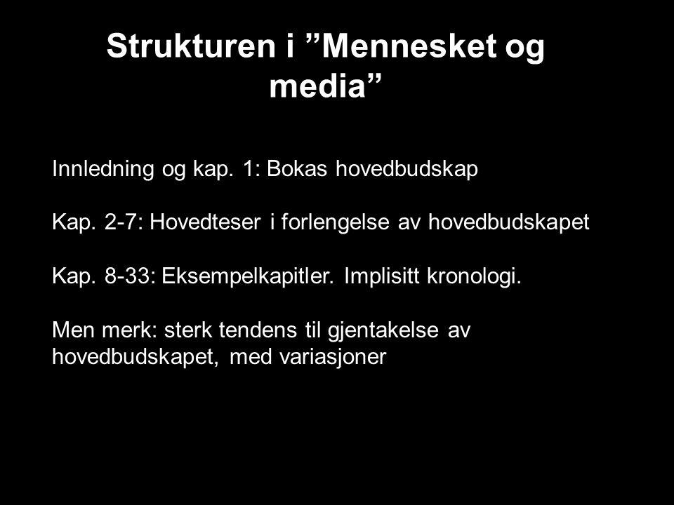 """Strukturen i """"Mennesket og media"""" Innledning og kap. 1: Bokas hovedbudskap Kap. 2-7: Hovedteser i forlengelse av hovedbudskapet Kap. 8-33: Eksempelkap"""
