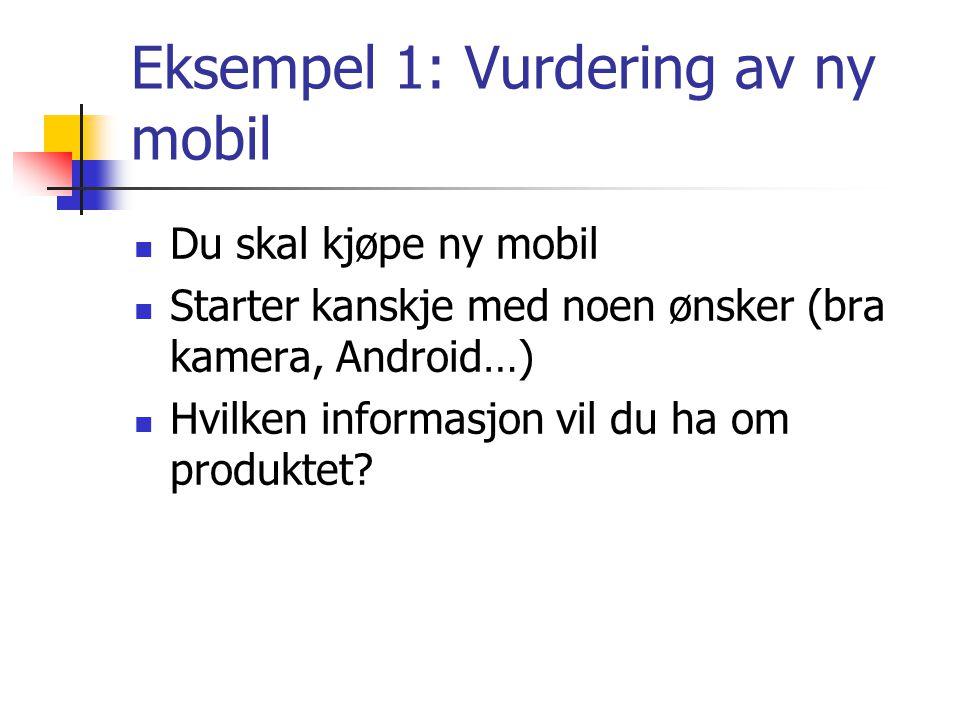 Eksempel 1: Vurdering av ny mobil Du skal kjøpe ny mobil Starter kanskje med noen ønsker (bra kamera, Android…) Hvilken informasjon vil du ha om produ