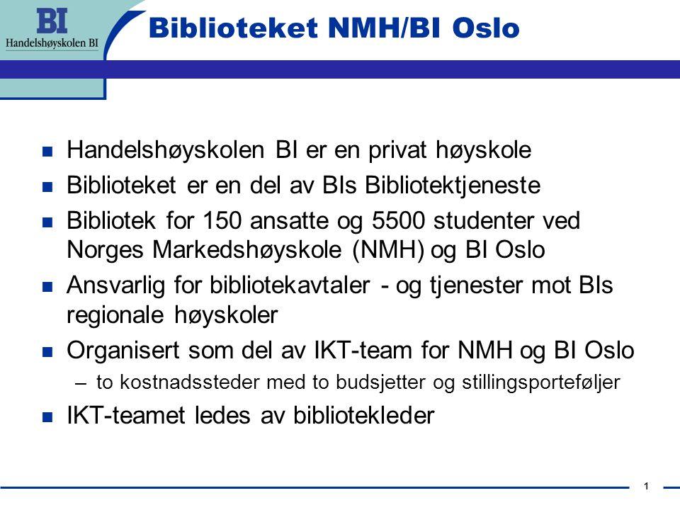 1 Biblioteket NMH/BI Oslo Handelshøyskolen BI er en privat høyskole Biblioteket er en del av BIs Bibliotektjeneste Bibliotek for 150 ansatte og 5500 s