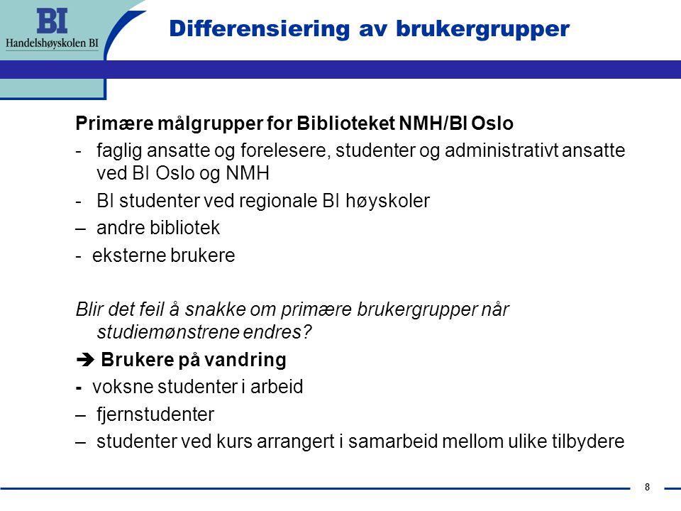 8 Differensiering av brukergrupper Primære målgrupper for Biblioteket NMH/BI Oslo -faglig ansatte og forelesere, studenter og administrativt ansatte v