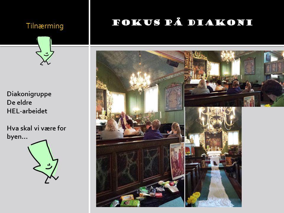 Tilnærming Diakonigruppe De eldre HEL-arbeidet Hva skal vi være for byen… Fokus på DIAKONI