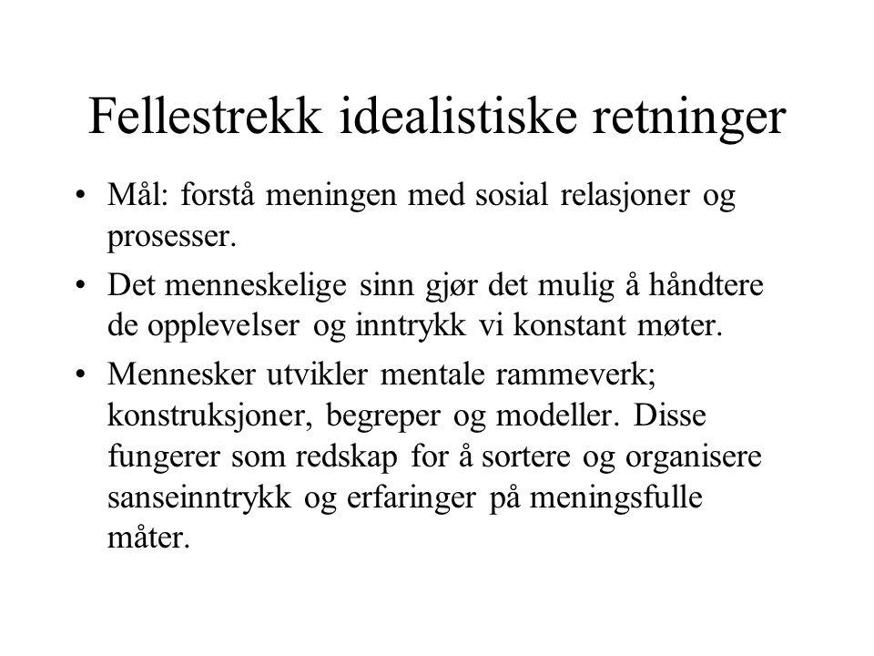 Fellestrekk idealistiske retninger Mål: forstå meningen med sosial relasjoner og prosesser.