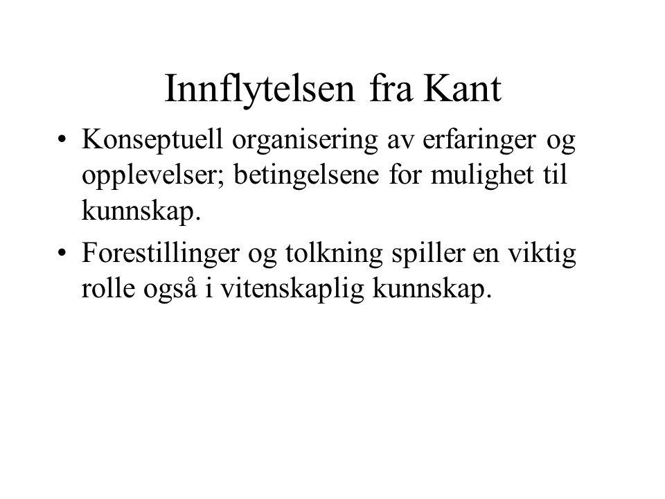 Innflytelsen fra Kant Konseptuell organisering av erfaringer og opplevelser; betingelsene for mulighet til kunnskap.