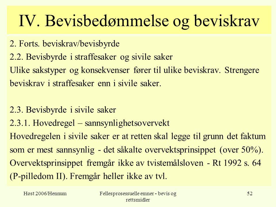 Høst 2006/HennumFellesprosessuelle emner - bevis og rettsmidler 52 IV. Bevisbedømmelse og beviskrav 2. Forts. beviskrav/bevisbyrde 2.2. Bevisbyrde i s