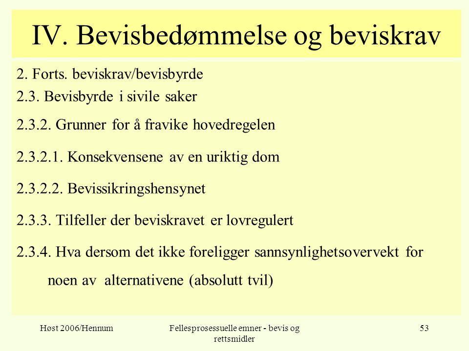 Høst 2006/HennumFellesprosessuelle emner - bevis og rettsmidler 53 IV. Bevisbedømmelse og beviskrav 2. Forts. beviskrav/bevisbyrde 2.3. Bevisbyrde i s