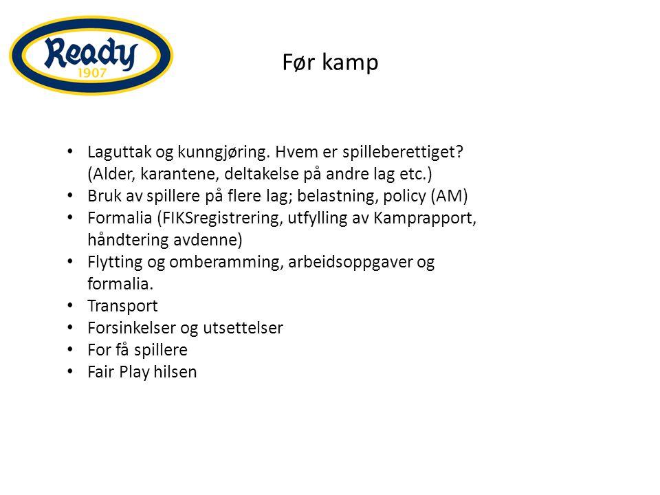 Å være arrangør Kampvert Banens tilstand Lys Garderober Dommer Matchballer Kamprapport Reservedrakter