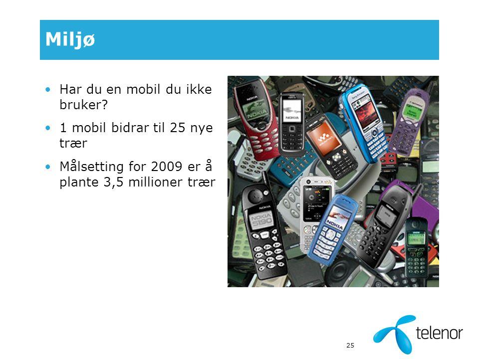 25 Miljø Har du en mobil du ikke bruker.