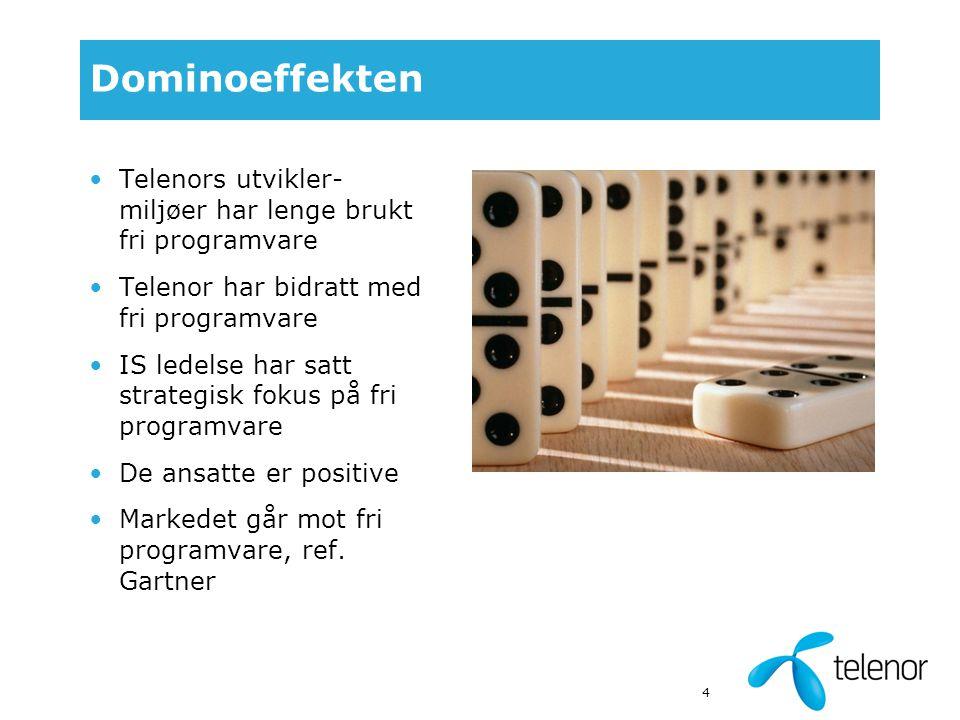 4 Dominoeffekten Telenors utvikler- miljøer har lenge brukt fri programvare Telenor har bidratt med fri programvare IS ledelse har satt strategisk fokus på fri programvare De ansatte er positive Markedet går mot fri programvare, ref.