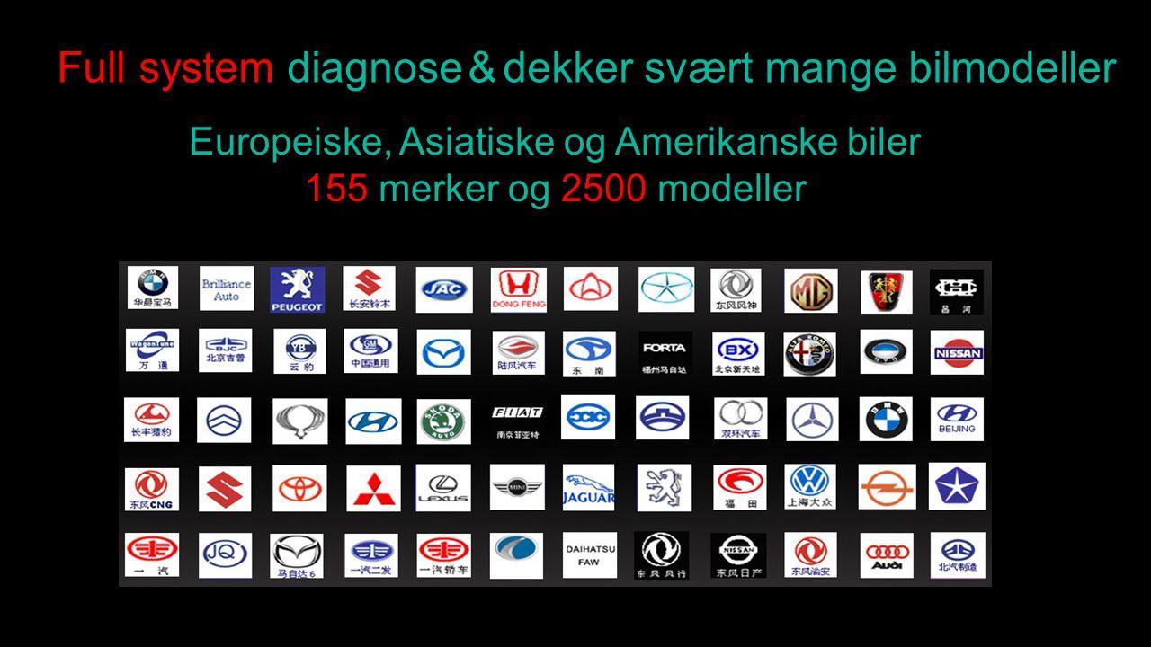 Full system diagnose & dekker svært mange bilmodeller Europeiske, Asiatiske og Amerikanske biler 155 merker og 2500 modeller