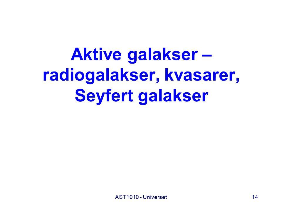 AST1010 - Universet14 Aktive galakser – radiogalakser, kvasarer, Seyfert galakser