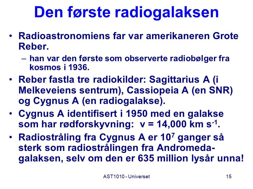 AST1010 - Universet15 Den første radiogalaksen Radioastronomiens far var amerikaneren Grote Reber. –han var den første som observerte radiobølger fra