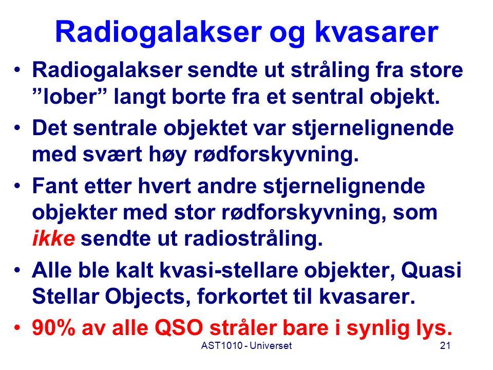 AST1010 - Universet21 Radiogalakser og kvasarer Radiogalakser sendte ut stråling fra store lober langt borte fra et sentral objekt.