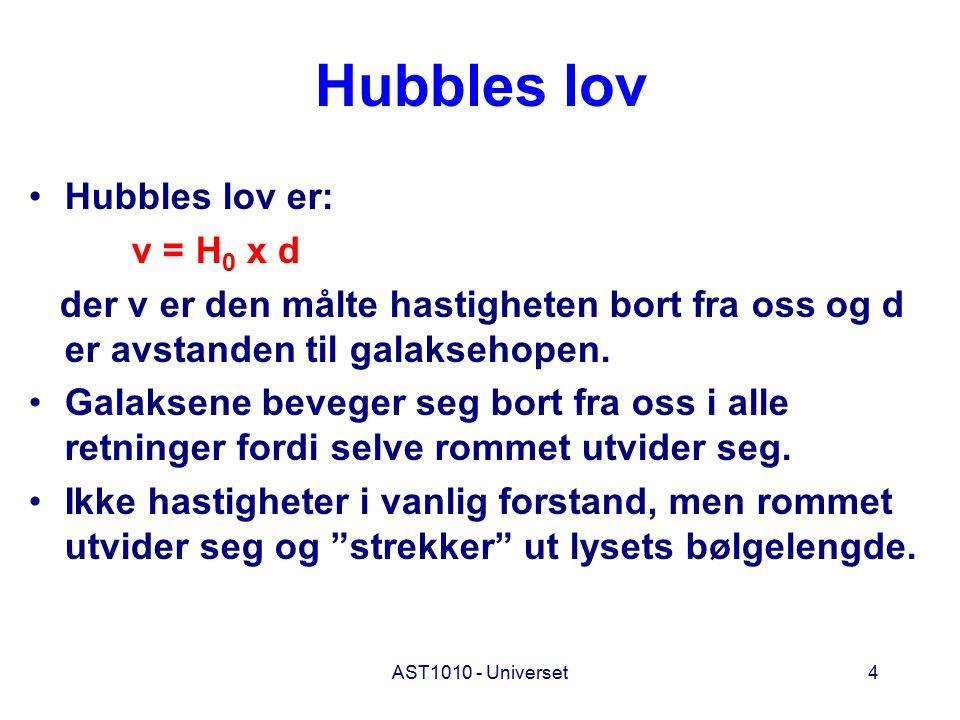 4 Hubbles lov Hubbles lov er: v = H 0 x d der v er den målte hastigheten bort fra oss og d er avstanden til galaksehopen. Galaksene beveger seg bort f