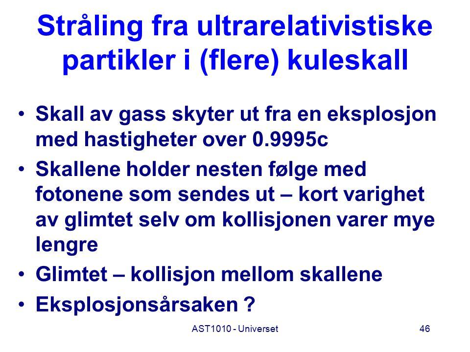 AST1010 - Universet46 Stråling fra ultrarelativistiske partikler i (flere) kuleskall Skall av gass skyter ut fra en eksplosjon med hastigheter over 0.