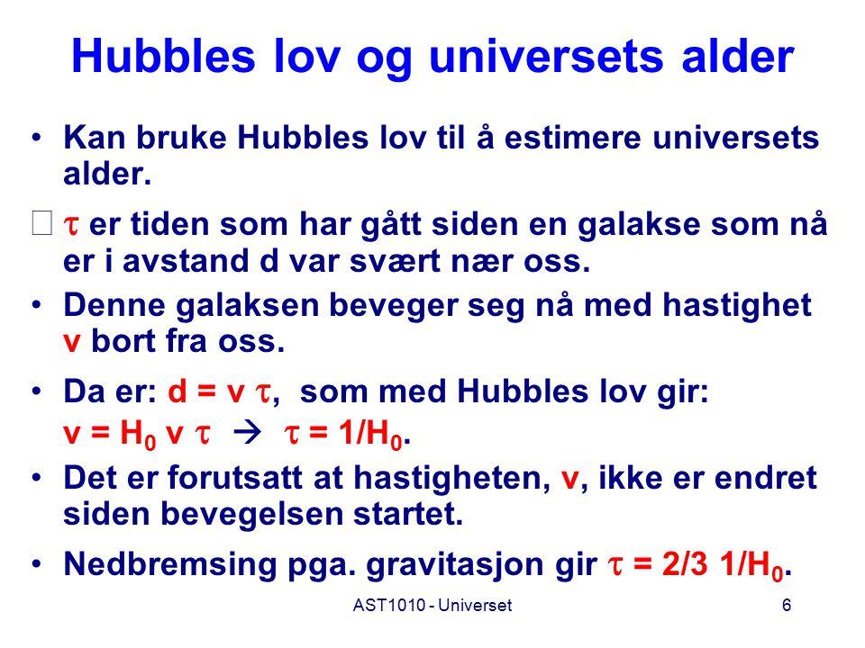 AST1010 - Universet6 Hubbles lov og universets alder Kan bruke Hubbles lov til å estimere universets alder.  er tiden som har gått siden en galakse