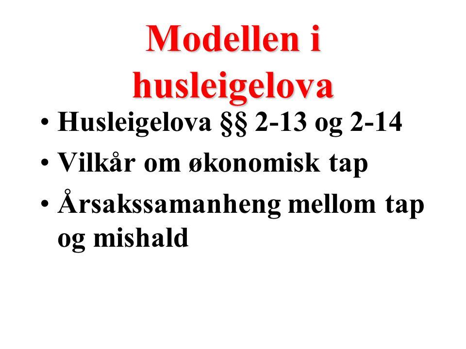 Modellen i husleigelova Husleigelova §§ 2-13 og 2-14 Vilkår om økonomisk tap Årsakssamanheng mellom tap og mishald