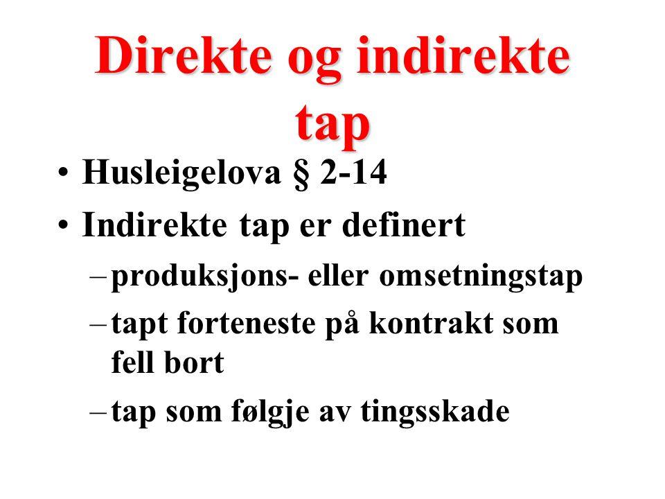 Direkte og indirekte tap Husleigelova § 2-14 Indirekte tap er definert –produksjons- eller omsetningstap –tapt forteneste på kontrakt som fell bort –tap som følgje av tingsskade