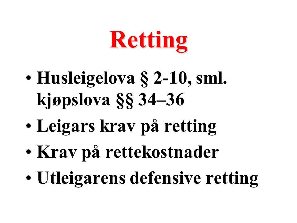 Avslag i leige Husleigelova § 2-11, sml. kjøpslova § 38 Høvesvis reduksjon