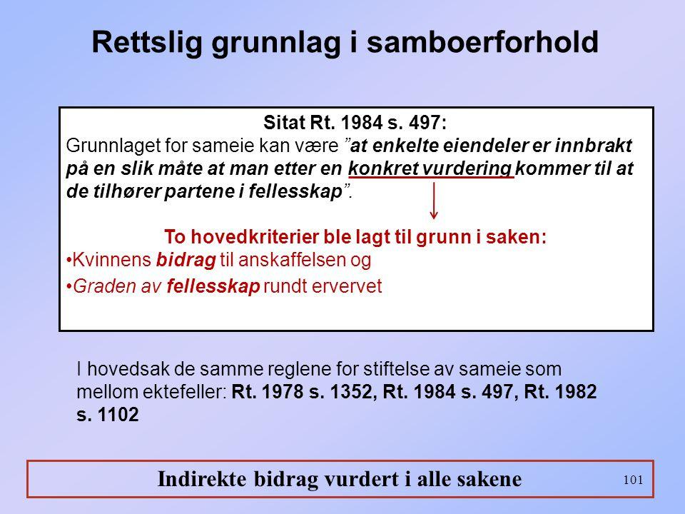 """101 Sitat Rt. 1984 s. 497: Grunnlaget for sameie kan være """"at enkelte eiendeler er innbrakt på en slik måte at man etter en konkret vurdering kommer t"""