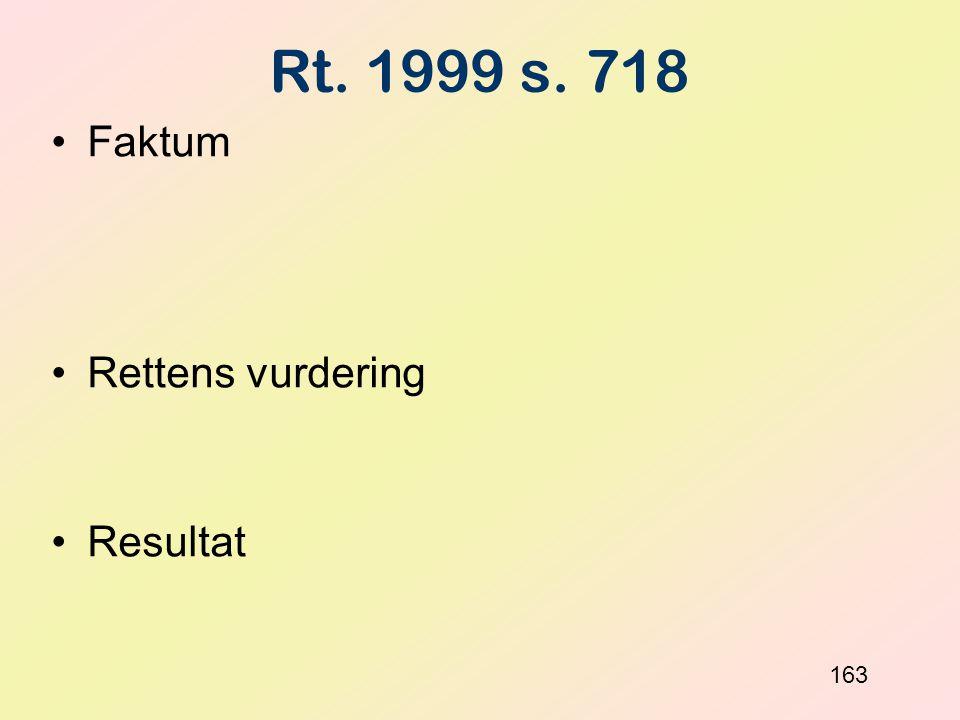 Rt. 1999 s. 718 Faktum Rettens vurdering Resultat 163