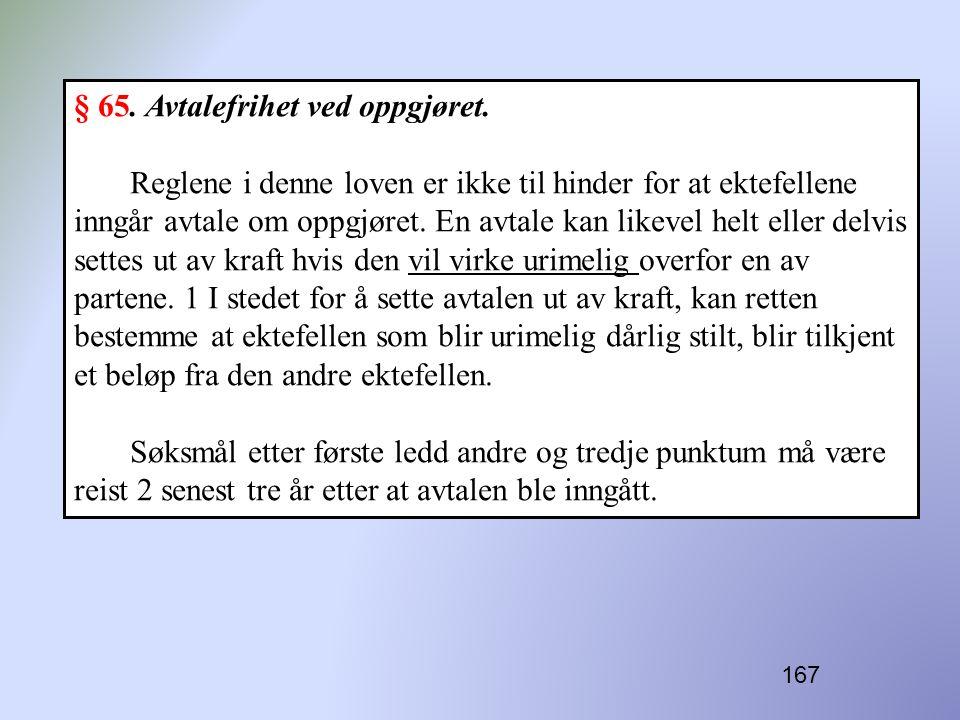 167 § 65. Avtalefrihet ved oppgjøret. Reglene i denne loven er ikke til hinder for at ektefellene inngår avtale om oppgjøret. En avtale kan likevel he