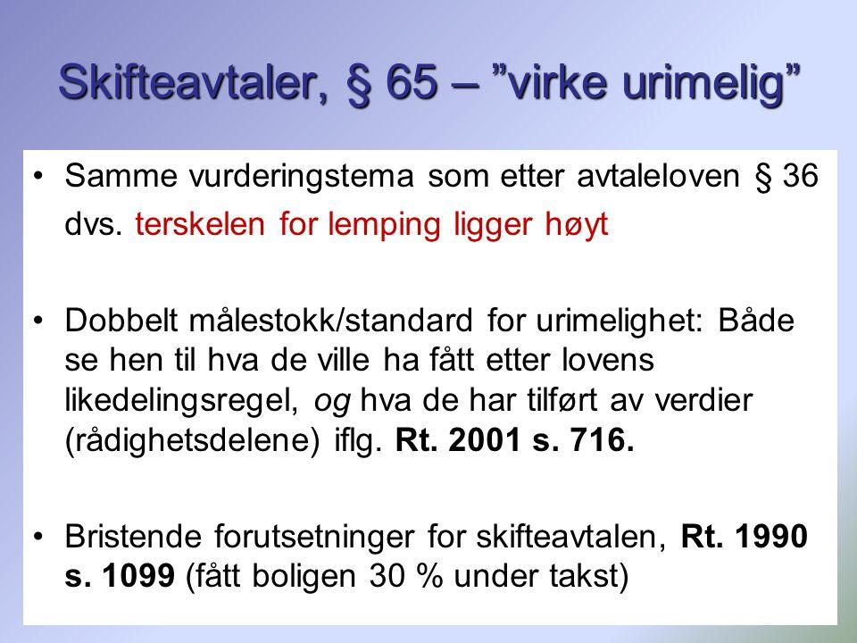 """168 Skifteavtaler, § 65 – """"virke urimelig"""" Samme vurderingstema som etter avtaleloven § 36 dvs. terskelen for lemping ligger høyt Dobbelt målestokk/st"""