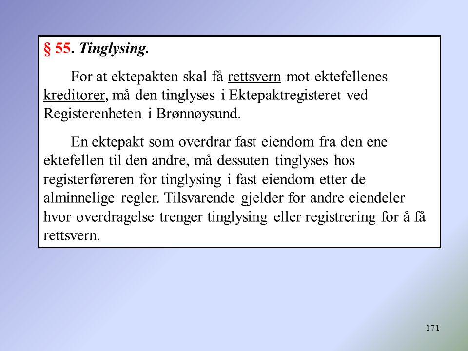 171 § 55. Tinglysing. For at ektepakten skal få rettsvern mot ektefellenes kreditorer, må den tinglyses i Ektepaktregisteret ved Registerenheten i Brø