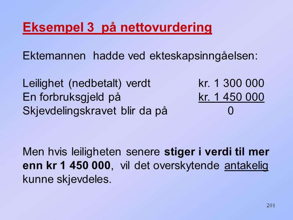 201 Eksempel 3 på nettovurdering Ektemannen hadde ved ekteskapsinngåelsen: Leilighet (nedbetalt) verdt kr. 1 300 000 En forbruksgjeld på kr. 1 450 000