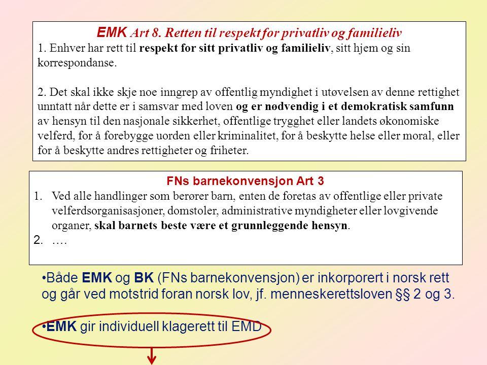 EMK Art 8. Retten til respekt for privatliv og familieliv 1. Enhver har rett til respekt for sitt privatliv og familieliv, sitt hjem og sin korrespond