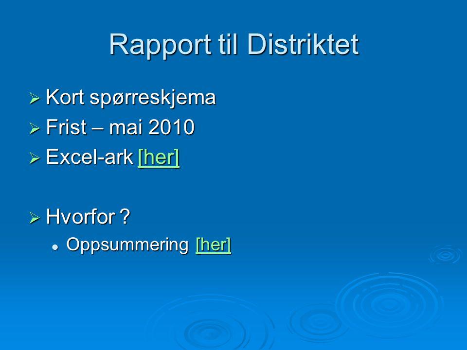 Rapport til Distriktet  Kort spørreskjema  Frist – mai 2010  Excel-ark [her] [her]  Hvorfor ? Oppsummering [her] Oppsummering [her][her]